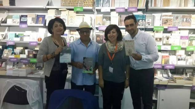 مع مديرة دار الأداب رنا إدريس، الكاتب يوسف فاضل، والكاتبة سامية عيسى